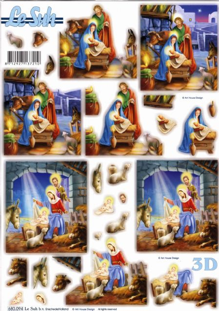 Christmas Nativity Die Cut 3d Decoupage Sheet From Le Suh - NO CUTTING